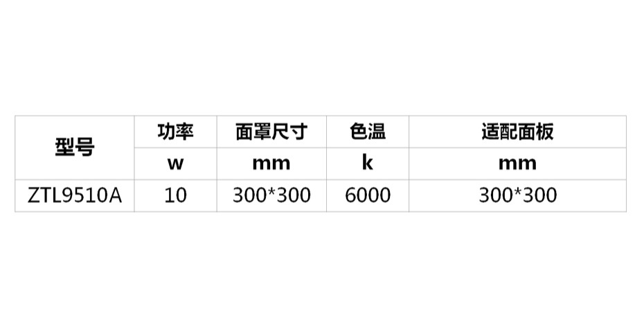 LED平板灯300-300  ZTL9510A-参数